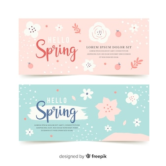 Pastel color spring banner template