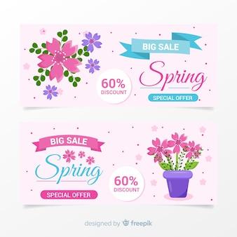 Pastel color spring sale banner