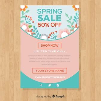 파스텔 컬러 봄 판매 포스터