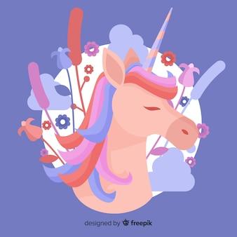 Pastel color unicorn background flat design