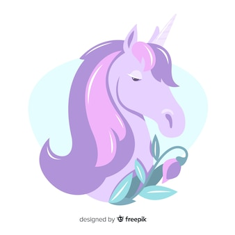 Pastel color unicorn background flat design