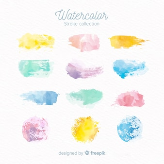 Pastel color watercolor stains collection