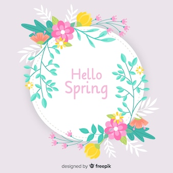 Pastel color wreath spring background