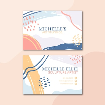 Pastel-colored business card template in memphis style