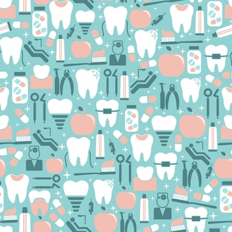 Pastel colored dental care seamless pattern