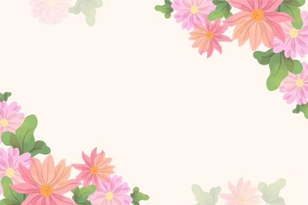 コピースペースでパステルカラーの花の背景
