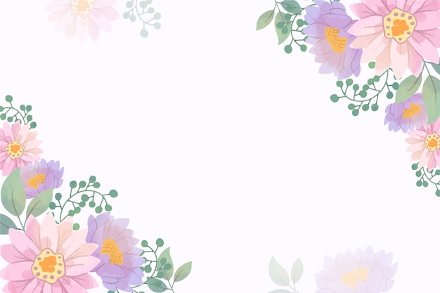 복사 공간 파스텔 컬러 꽃 무늬 벽지