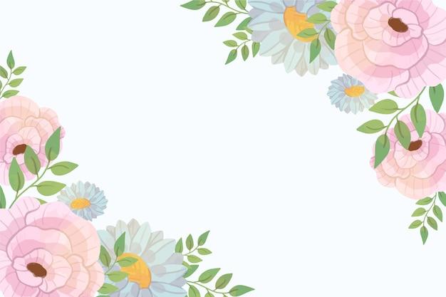 파스텔 컬러 꽃 무늬 벽지