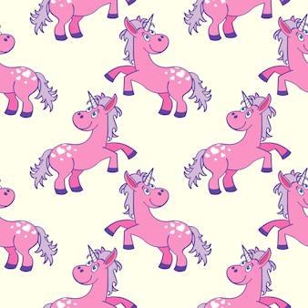 Pastel colored hand drawn unicorns seamless pattern