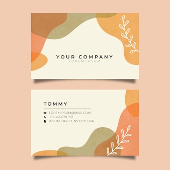 Pastel-colored stains abstract business card template