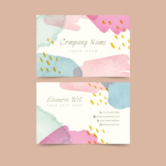Pastel colored stains abstract business card template
