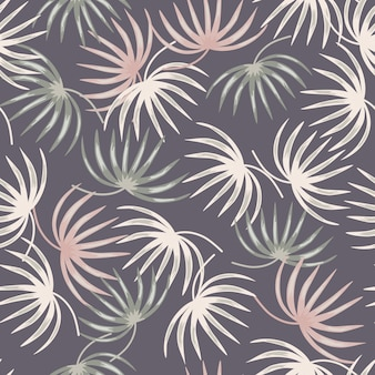 Pastel colores tropic leaf shapes seamless pattern in doodle style