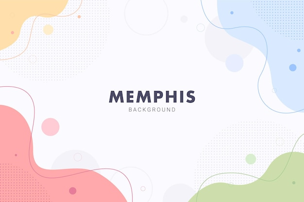 전단지 배너 서식 파일 디자인에 대 한 파스텔 다채로운 멤피스 파도 액체 추상적인 배경