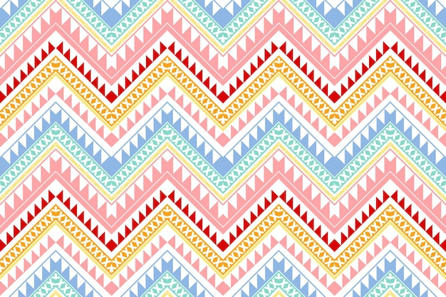 Pastel colorful vintage zigzag ethnic geometric oriental seamless traditional pattern. design for background, carpet, wallpaper backdrop, clothing, wrapping, batik, fabric. embroidery style. vector.