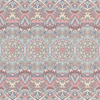 Pastel coloros victorian ornament pattern design. ethnic seamless vintage art background.