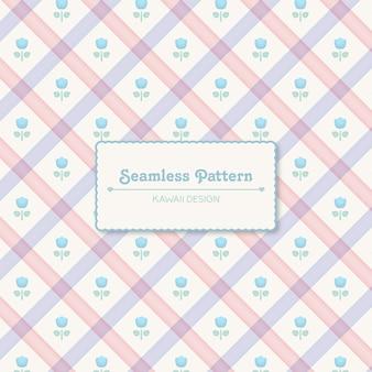 파스텔 색상 체크 무늬와 손으로 그린 된 꽃 수채화 스타일 완벽 한 패턴