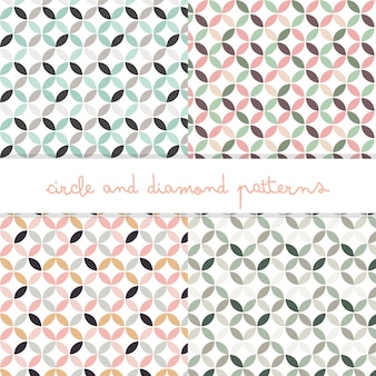 Pastel colors circle and diamond editable patterns