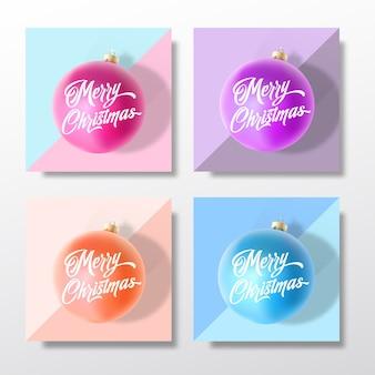 파스텔 색상 부드러운 크리스마스 인사말 카드, 포스터, 배너 또는 파티 초대장 템플릿 세트.