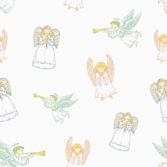 パステルカラー手描きのクリスマスベクトルシームレスな背景パターン。天使のスケッチカードまたはカバーテンプレート。休日の装飾の壁紙。