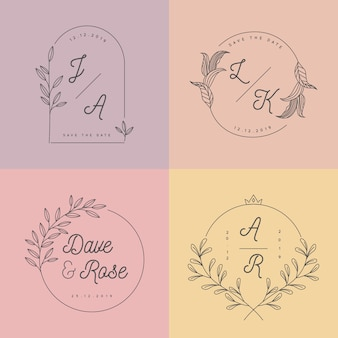 Pastel colors minimalist wedding monograms