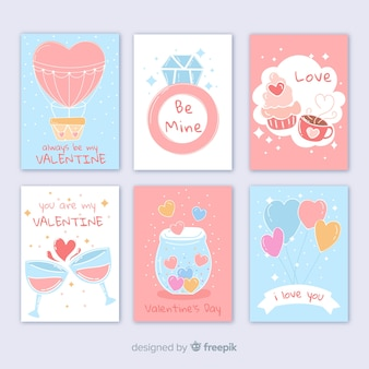 Pastel colors valentine's day card collection