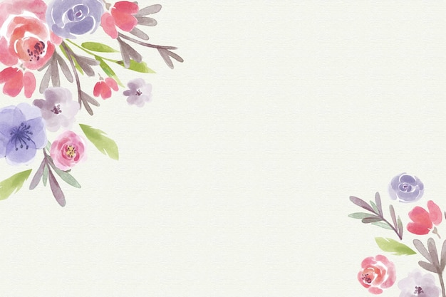 Pastel colors watercolor flowers background