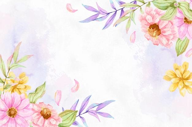 Pastel colors watercolor flowers background