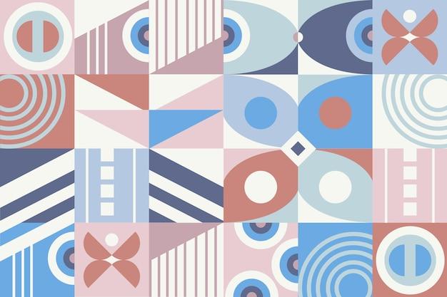 Pastel coloured geometric mural wallpaper