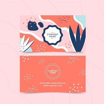 Pastel-coloured stains business card abstract dots and lines