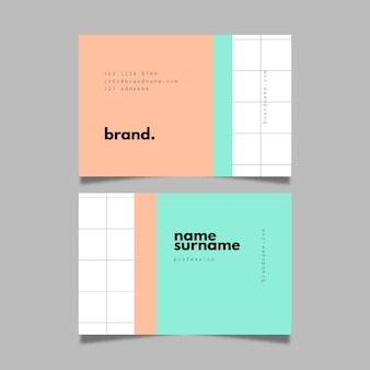 Pastel coloured visit business card