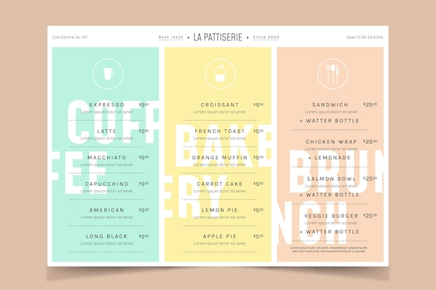 Пастельно-красочный шаблон меню ресторана