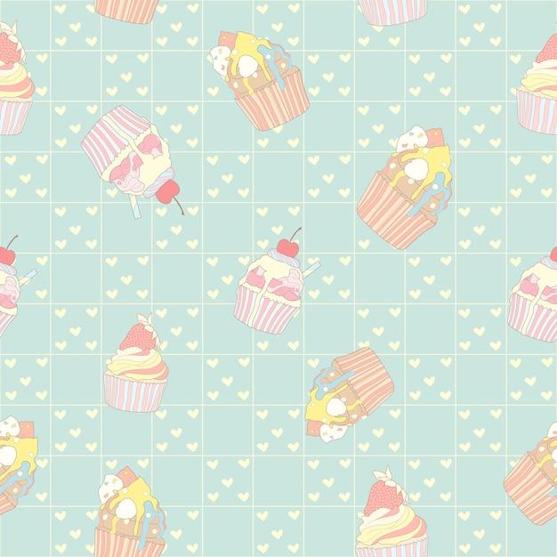 Pastel cupcake seamless pattern Premium Vector
