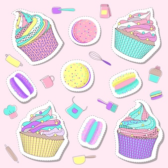 Pastel cute bakery and cake sticker