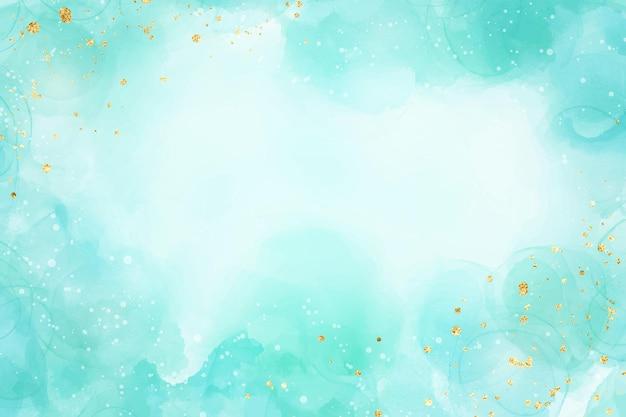 금색 반짝이 브러시 얼룩이 있는 파스텔 시안 민트 액체 대리석 수채화 배경. 청록색 대리석 알코올 잉크 드로잉 효과. 벡터 일러스트 레이 션 배경, 수채화 청첩장입니다.