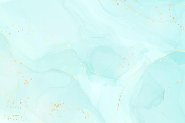 파스텔 시안색 민트 액체 대리석 수채색 배경에는 금선과 브러시 얼룩이 있습니다. 청록색 대리석 알코올 잉크 드로잉 효과. 벡터 일러스트 레이 션 배경, 수채화 청첩장