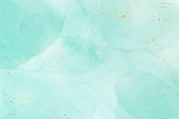 Pastel cyan mint liquid marble watercolor background with gold lines and brush stains