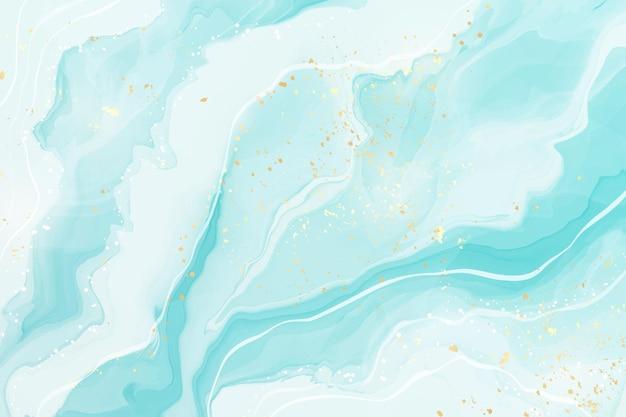 パステルシアンミント液体大理石の水彩画の背景波線とブラシの染み