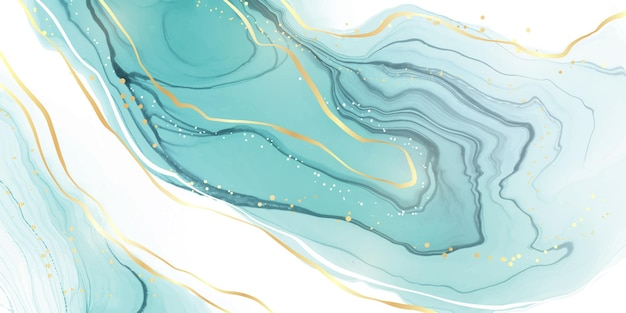 パステルシアンミント液体大理石の水彩画の背景と波線