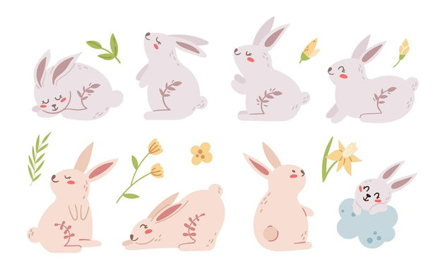 Pastel easter rabbit or bunny kids clipart set,. easter baby animals and spring flowers isolated on white
