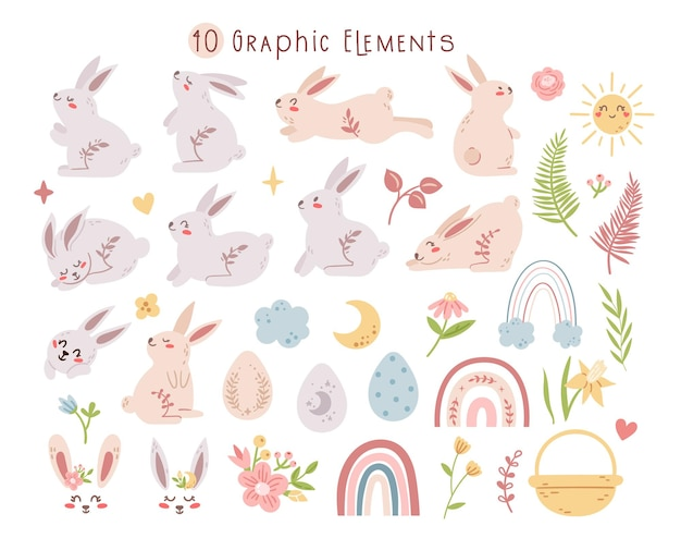 パステルイースターのウサギまたはウサギのセット、自由奔放に生きるイースターエッグ、虹、花のバンドル。