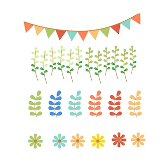 Pastel flag and garden set