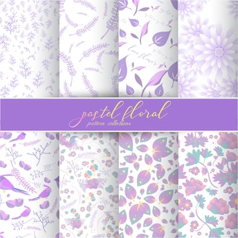 Pastel floral pattern collection.