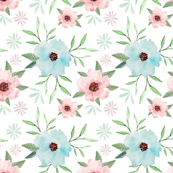 Pastel floral seamless pattern watercolor background