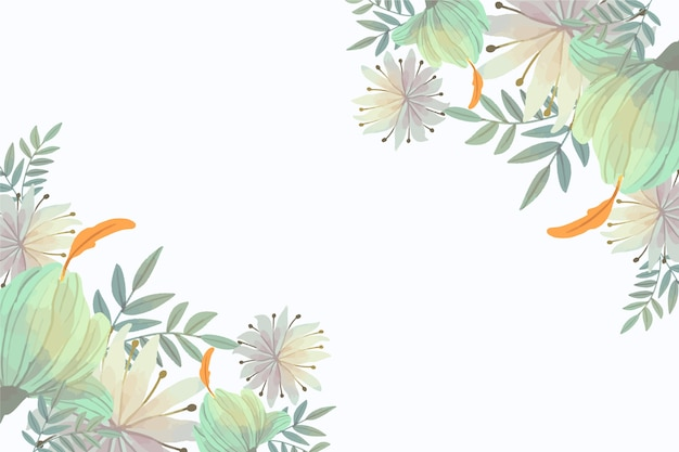 Pastel floral wallpaper with copy space