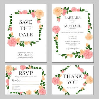Pastel floral wedding invitation template