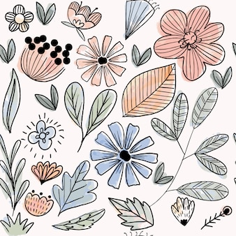 Pastel flower and leaves seamless pattern