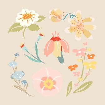 パステル花、春のクリップアートかわいいベクトルイラスト