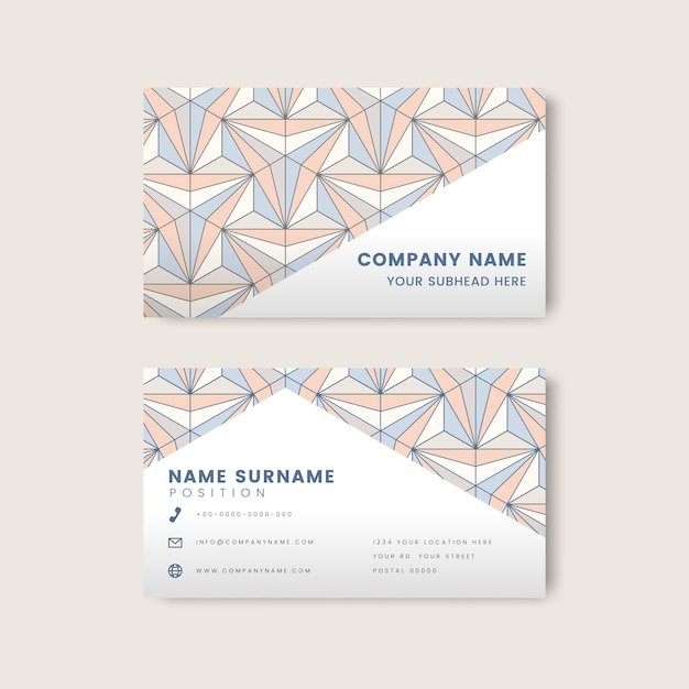Pastel geometric pattern on white business card vector