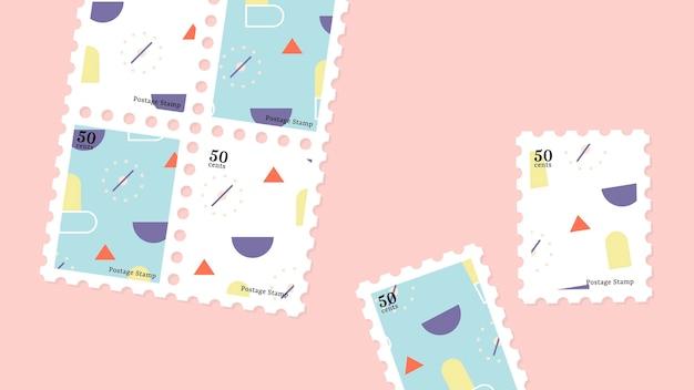 パステル幾何学模様の切手コレクション