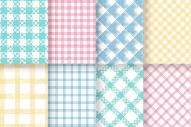 Pastel gingham patterns set